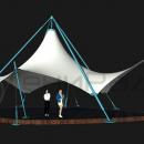 Мембранный шатер Агадаж с одной вершиной на внешнем подвесе
