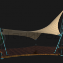Мембранная конструкция Блейд, вид изометрический. Пример с тентовой кровлей бежевого цвета.