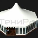 Общий вид тентового шатра Капелла Окта площадью 122м2 со стороной 5м.