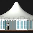 Боковой вид тентового шатра Капелла Окта площадью 122м2 со стороной 5м.