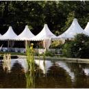 Тентовые шатры в саду. Конструкция тентового шатра Капелла Кварта площадью 25м2 со стороной 5м.