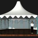 Вид подкупольного пространства тентового шатра Капелла Секта площадью 65м2 со стороной 5м.