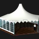 Общий изометрический вид тентового шатра Капелла Секта площадью 65м2 со стороной 5м.