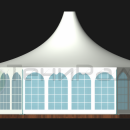 Вид сбоку тентового шатра Капелла Секта площадью 65м2 со стороной 5м.
