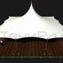 Классический шатер Кэжуал Квадра с оттяжками на стойках и центральной мачтой отлично впишется в любой ландшафт