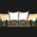 Вид сбоку на архитектурную мембранную конструкцию Круассан