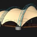 Мембранная конструкция Летучая мышь, вид на тентовую кровлю сзади. Фундаменты показаны условно.