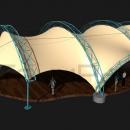 Вид спереди на мембранную конструкцию Летучая мышь. Фундаменты показаны условно. Вход под тентовую конструкцию осуществляется через центральный входной портал.