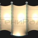 Мембранная конструкция Летучая Мышь. Арки каркаса тентовой конструкции расположены параллельно, однако возможна модификация проекта конструкции и радиальное расположение арок каркаса. Пример - мембранная конструкция Си Вейв из нашего каталога.