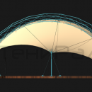 Боковой вид мембранной конструкции Летучая Мышь. Боковые тентовые полотна могут закреплять на стационарные объекты площадки при необходимости.