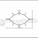 Схема натяжения и точки опоры ромбовидной мембранной конструкции