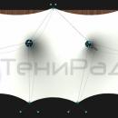 Мембранная конструкция Корсика 2.0. Вид сверху. Данная версия конструкции имеет более компактные стойки с оттяжками по заднему краю мембранной кровли, что позволяет экономить пространство площадки. Площадь конструкции составляет 185м2.
