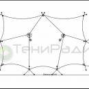 Мембранная конструкция Корсика 2.0. Площадь тентового навеса 185м2. Схема конструкции.