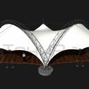Общий вид мембранной конструкции со стороны обратной фасаду. Виден единый центральный фундамент для спаренных несущих арок тентового сооружения.