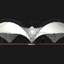 Задний вид мембранной конструкции Риноцерос. Своды арок формируют единый объем под тентовой кровлей.