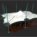 Общий вид мембранной шатровой конструкции Сегестрия. Вершина купола вытягивается системой вант, идущих от вершин стоек, что придает тентовой конструкции сходство с образом паука.