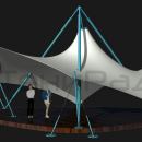 Мембранная каркасно-тентовая конструкция Стабила. Стойки каркаса проходят сквозь мембранную оболочку, образуя мощную треногу внешнего подвеса тентового купола.