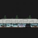 Тентовый павильон архитектурного исполнения Тортуга. Эскиз варианта с тентовыми стенками по периметру. Вид фасадный.