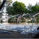 Тентовый павильон архитектурного исполнения Тортуга. Монтаж тентовой конструкции на подготовленный подиум.