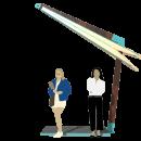 Уличный зонт в полностью сложенном состоянии. Купол зонта сложен в бутон и зафиксирован от качания на консольной опоре. В этом состоянии уличный зонт может оставляться на ночь или на период хранения.
