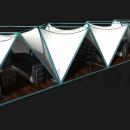 Общий вид на ряд тентовых шатров