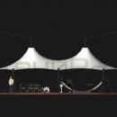 Классический подвесной вантовый шатер Камерун великолепно подходит для организации различных мероприятий или кафе