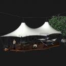 Летнее укрытие от солнца и дождя Камерун - подвесной вантовый шатер на наклонных мачтах