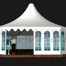 Изометрический вид тентового шатра Капелла Окта площадью 122м2 со стороной 5м.