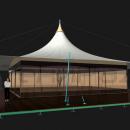 Край кровли в один уровень, на мембранной конструкции Кэжуал Квадра,позволяет устанавливать жесткое фасадное остекление внутри периметра шатра