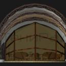 В мембранной конструкции Круассан есть возможность подвеса боковых стенок, в качестве боковых ограждений могут выступать ПВХ тентовые стенки или жесткое фасадное остекление