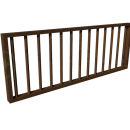 Боковое деревянное ограждение с вертикальными цилиндрическими балясинами.