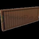 Боковое деревянное ограждение в вертикальными дощатыми ламелями.