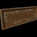 Боковое ограждение с фанерной вставкой, фрезерованной декоративным сквозным рисунком.