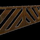 Боковое декоративное ограждение с диагональными дощатыми ламелями.