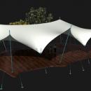 Дыхтау - легкая и открытая мембранная конструкция с выразительной фасадной линией на лаконичных стойках с оттяжками
