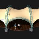 Фасадный вид мембранной конструкции Летучая Мышь. Входной портал тентовой конструкции может быть расположен на месте любого модуля конструкции, не обязательно по центральной оси тентовой конструкции.
