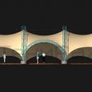 Фасадный вид мембранной конструкции Летучая Мышь. Задний край тентовой кровли приспущен для образования закрытого от ветра внутреннего объема.