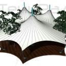 Мембранная многокупольная шатровая конструкция большой площади на лесистом участке. Существующие деревья интегрированы в систему мембранной кровли, проходят сквозь заготовленные по проекту отверстия. При этом тентовый шатер максимально полно перекрывает площадку, а деревья внутри периметра мембранной оболочки всецело соединяют внутренний объем мембранной конструкции с окружающей природой. Уникальное решение.