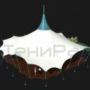 Общий вид мембранного шатра Хеликс Квадра, площадь 318м2. Центральная опора имеет сверху вентиляционный конус, выполненный из прозрачного пластика, обеспечивающий естественную вентиляцию подкупольного пространства.