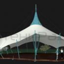 Мембранная оболочка шатра выполняется с волнообразным краем, что придает внешнему виду конструкции абсолютную футуристичность.