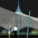 Вид подкупольного пространства шатровой конструкции. Центральная опора шатра выполнена в виде пространственной фермы, поддерживающей центральный полюс мембранной кровли.