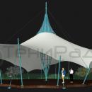 Изометрический вид мембранного шатра Хеликс Квадра.