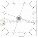 Схема тентового шатра Хеликс Квадра. Теневая площадь тентовой конструкции - 318м2.