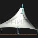 Мембранная конструкция Корсика 2.0. Вид сбоку. Данная версия конструкции имеет более компактные стойки с оттяжками по заднему краю мембранной кровли, что позволяет экономить пространство площадки. Площадь конструкции составляет 185м2.