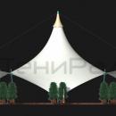 Боковой вид на шатровую мембранную конструкцию