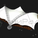 Общий вид сверху мембранной конструкции Риноцерос. Фундамент тентового сооружения показан условно и может быть выполнен в других вариантах.