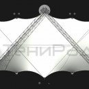 Общий вид сверху на мембранную конструкцию Риноцерос. Количество периметральных стоек, а так же количество оттяжных вант может корректироваться.