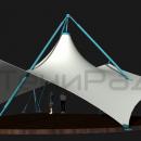 Мембранная каркасно-тентовая конструкция Стабила. Фасадный край мембранной оболочки приподнят, для образования широкого визуального фронта. Сзади углы мембранной оболочки приспущены к площадке для создания уютного пространства под тентовым куполом.