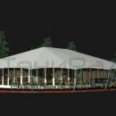 Тентовый павильон архитектурного исполнения Тортуга. Эскиз варианта с тентовыми стенками по периметру.