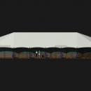 Тентовый павильон архитектурного исполнения Тортуга. Вид фасадный. Жесткое фасадное остекление.